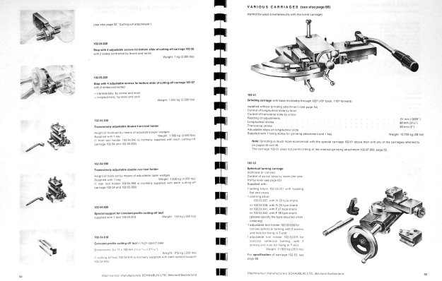 SCHAUBLIN No. 102 Series Precision Metal Lathe Catalog