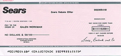 50-cent check from Sears