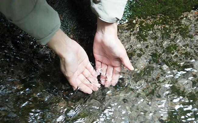 清らかな水はひんやりとしていて気持ちいい