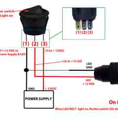 Two Pole Switch Wiring Diagram Bmw E39 Harness Round Rocker 12v Led Prewired In Blue Red