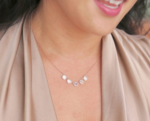 5 sliced diamonds rose gold necklace