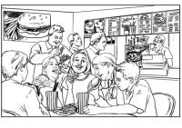 Dibujo de nios en un restaurante para colorear