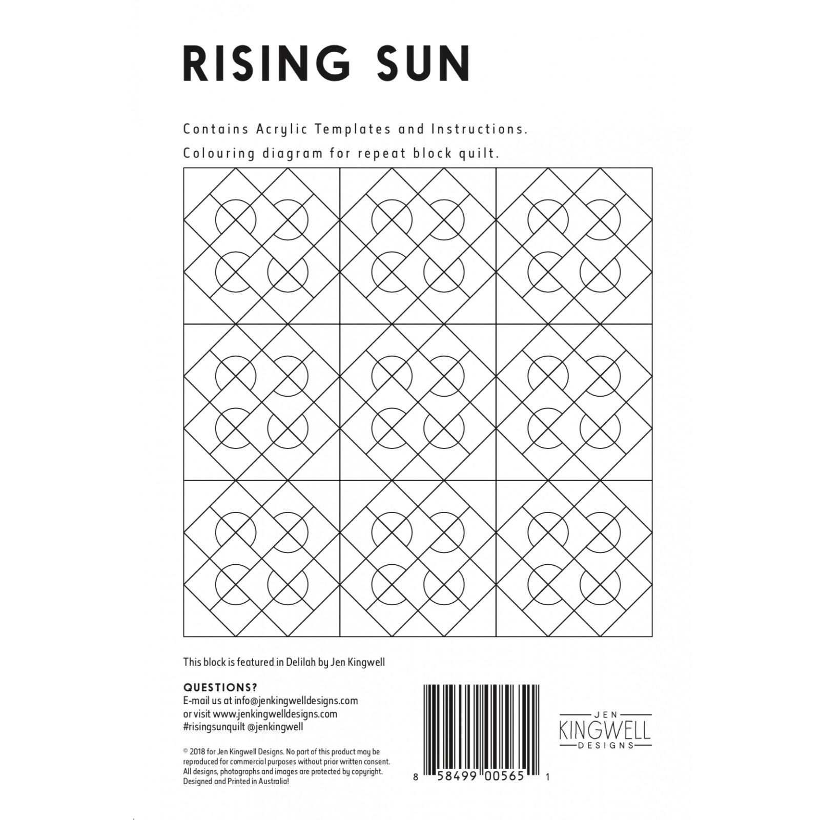 Rising Sun Tempter Patchwork Quilt Block Template set by