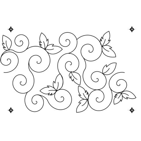 Full Line Stencil Swirling Lewaves by Hancy Full Line Stencils