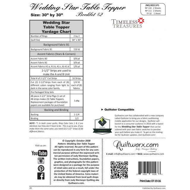 Wedding Star Table Topper Pattern & Foundation Paper by