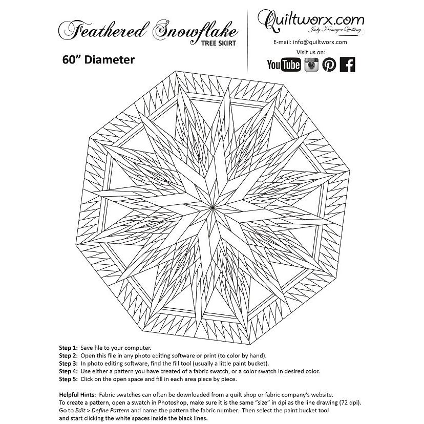Feathered Snowflake Tree Skirt (or wall hanging) by Quiltworx