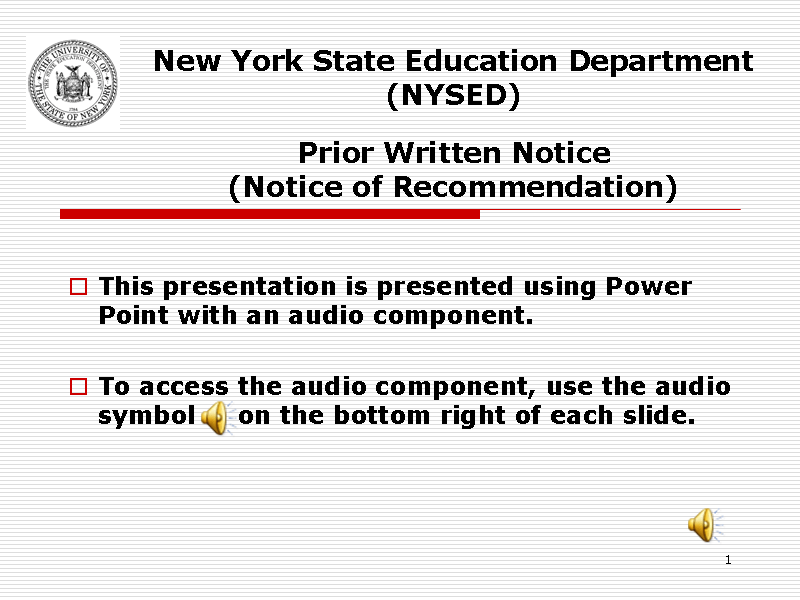 New York State Education Department (NYSED) Prior Written