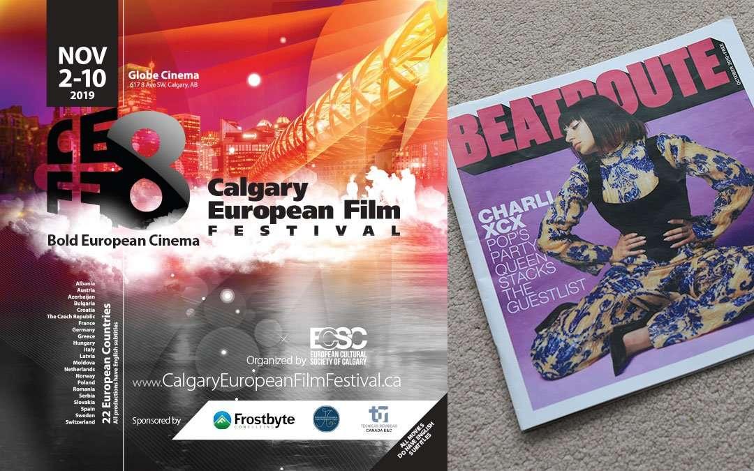 Advertising Design for Calgary European Film Festival 2019 in Beatroute Magazine