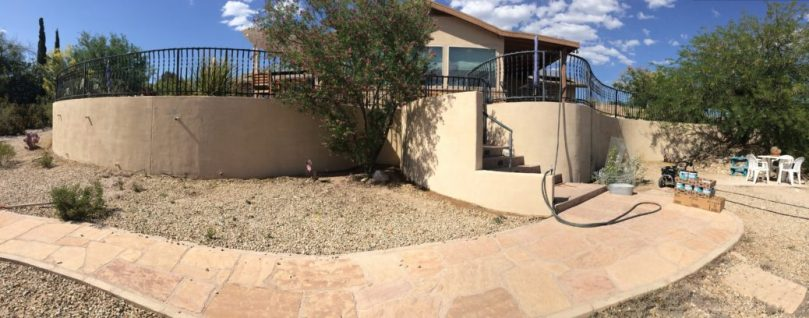 Steffens Residence gets acid etching on retaining wall, Pjilabaum Professional Painting, Tucson, AZ