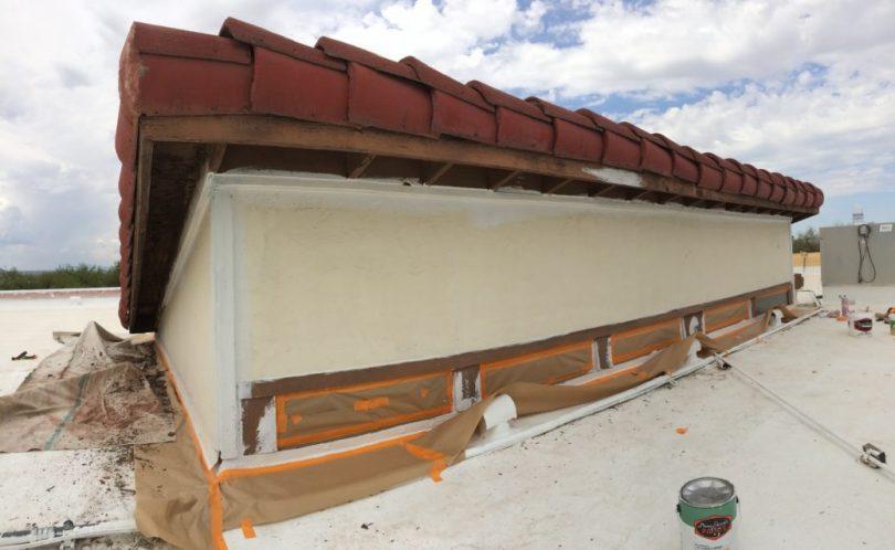 clerestory windows prior to painting