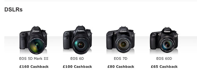 Canon UK Spring 2013 cashback offers