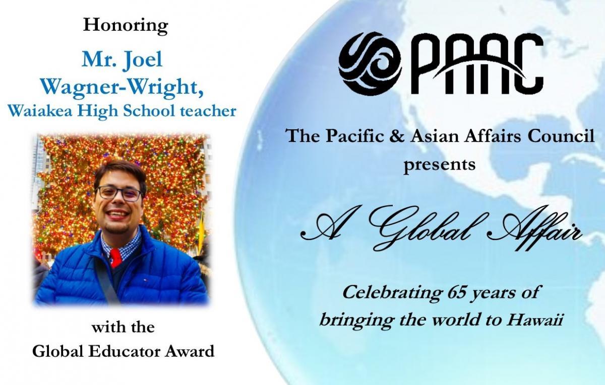 PAAC annual dinner invitation honoring Joel Wagner-Wright, Waiakea High School teacher