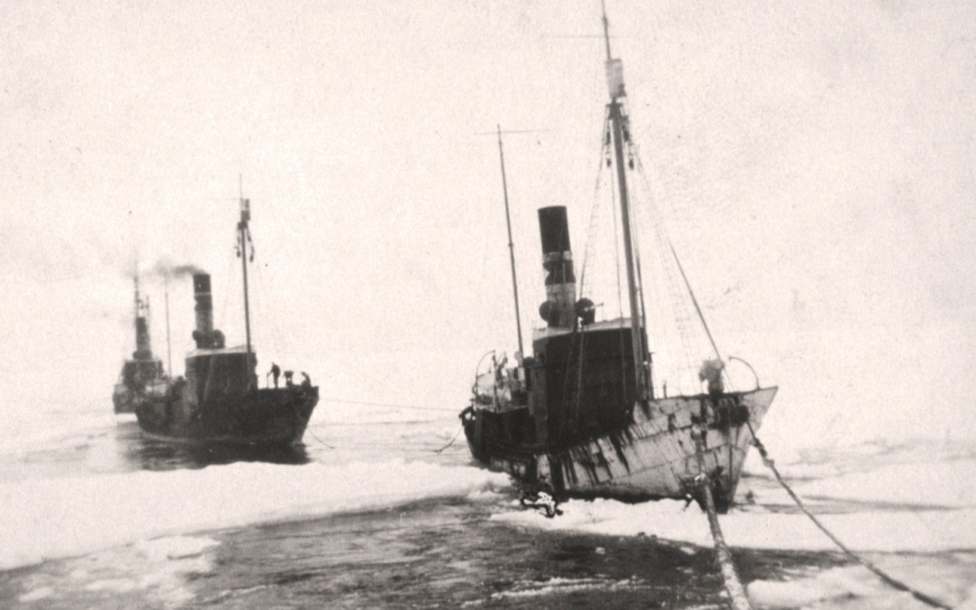 Pol catchers towed through the ice pack