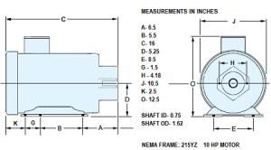 10 Hp Motor  Frame: 215YZ, Shaft ID 58