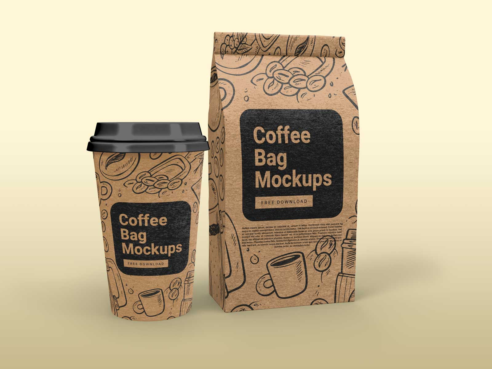 So these free mockups help a lot in branding your products. Free Kraft Paper Gusset Bag And Paper Cup Mockup Set Package Mockups