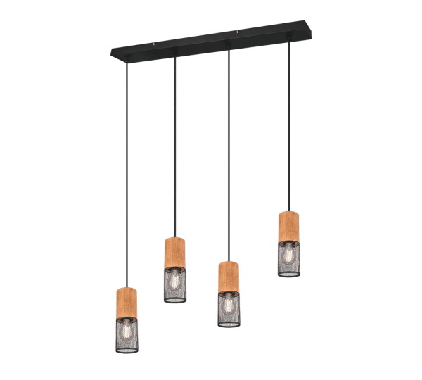 Suspension bois et métal vintage quatuor TOSH