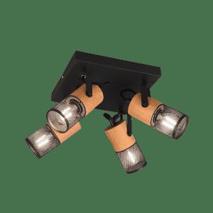 Plafonnier 4 spots bois et métal vintage TOSH
