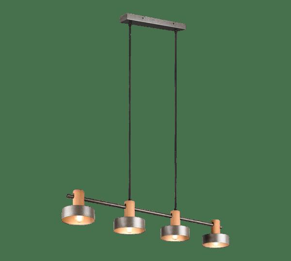 Suspension Bois & Metale Nickel Antique, 4 emplacement E14 sans ampoule(s)