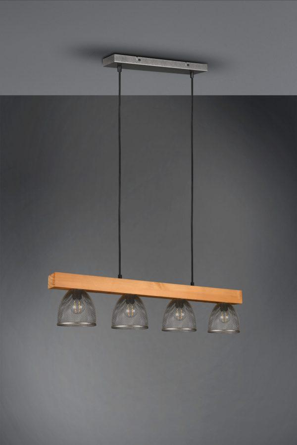 Suspension bois & metale Nickel Mat, Vintage, sans ampoule(s)