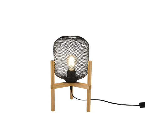 Grande Suspension bois & metale Noir Mat, Vintage, sans ampoule(s) Ø33cm