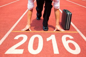 businessman ready to run and 2016 new year concept