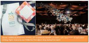 Above: Additional phots from WWIN's 25th Anniversary Benefit Luncheon. Left: Give-aways at each place setting. Right: Everyone was thrilled by the balloon drop during the event!
