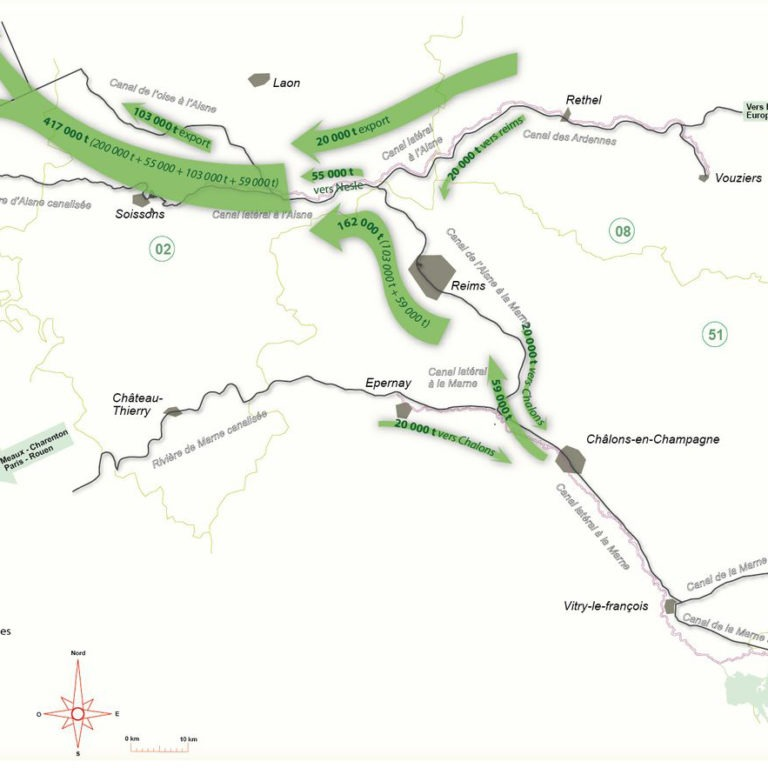Carte des volumes de marchandises transportés par le fleuve dans la région Rémoise - Guillaume Sciaux - Cartographe professionnel