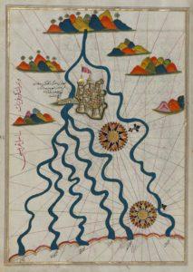 La ville de Ferrare avec les six rivières qui se jettent dans le golfe de Venise - Guillaume Sciaux - Cartographe professionnel