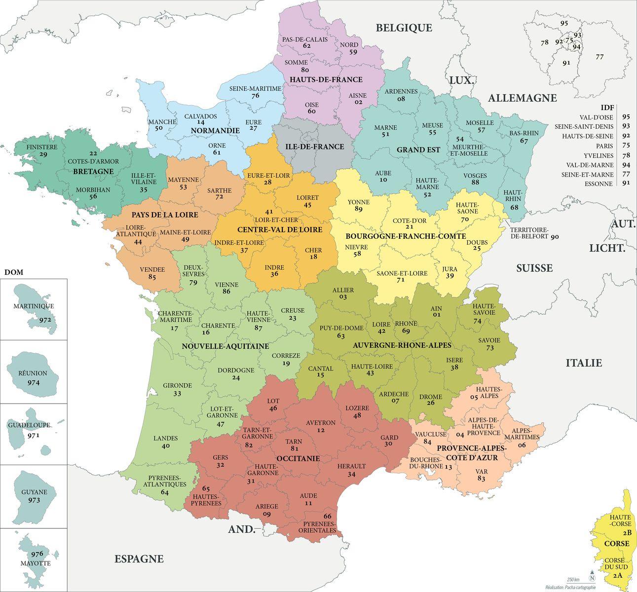 Fond de carte France - Régions et départements avec noms - Guillaume Sciaux - Cartographe professionnel