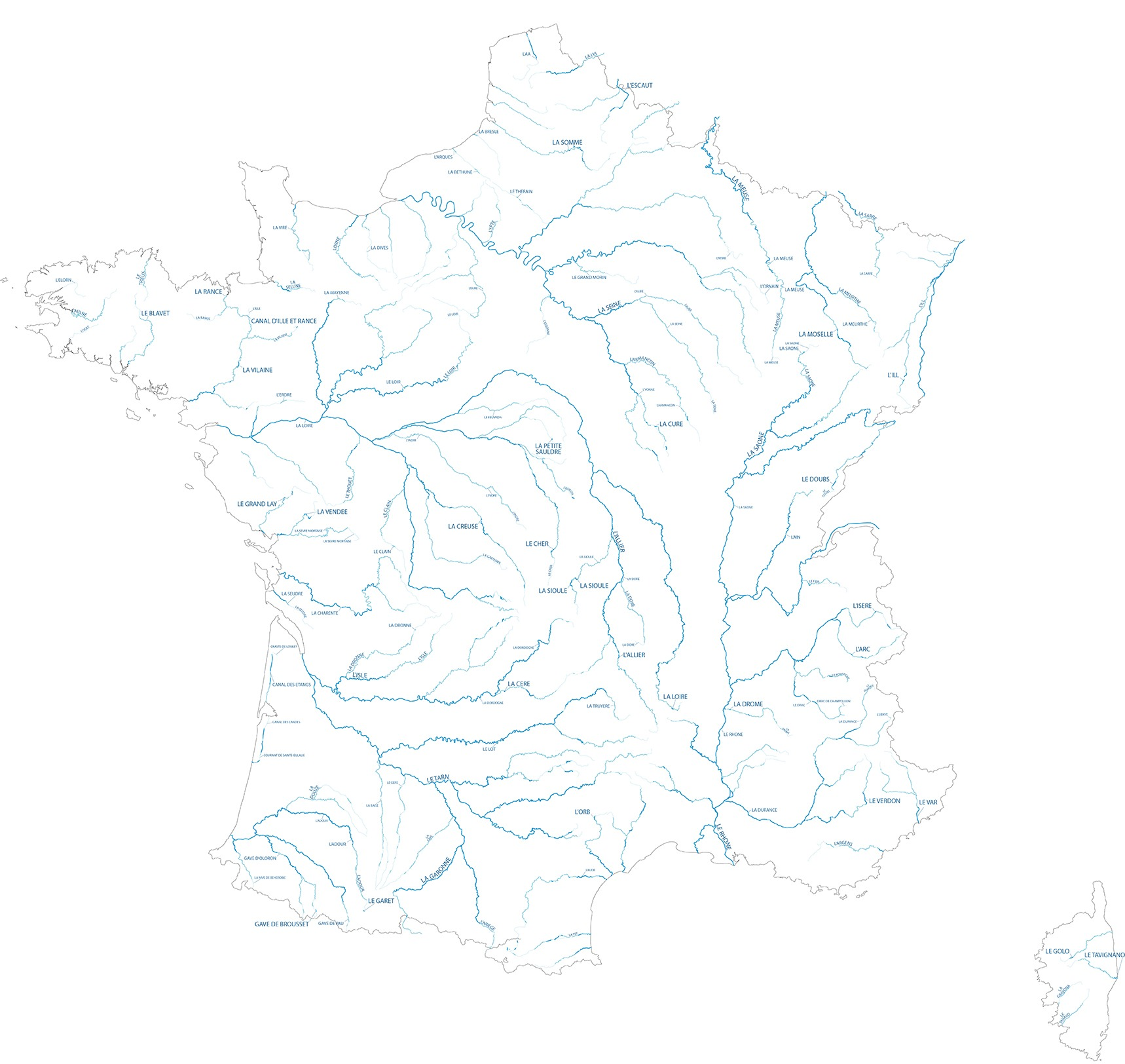 Hydrographie SD france - Guillaume Sciaux - Cartographe professionnel