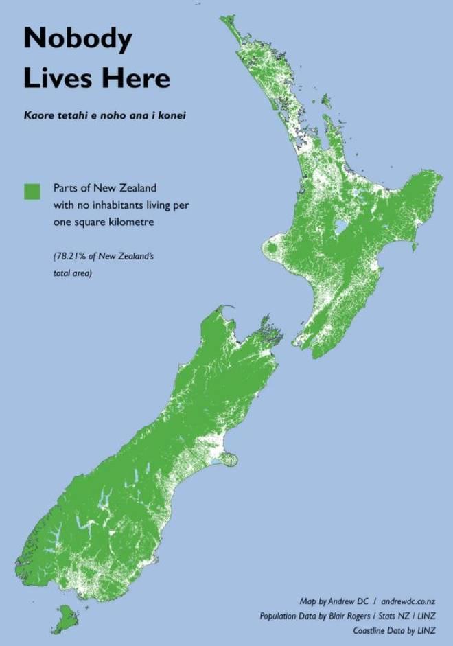 Nouvelle Zélande densité population - Guillaume Sciaux - Cartographe professionnel