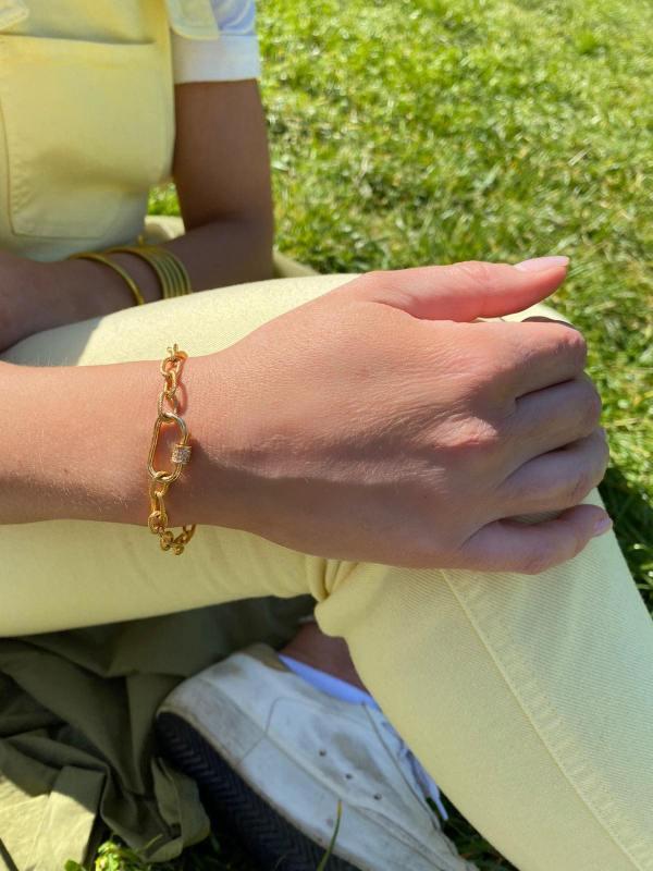 Bracelet grosse maille et cadena
