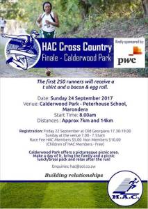 HAC Cross Country: Finale- Calderwood Park @ Calderwood Park- Peterhouse School