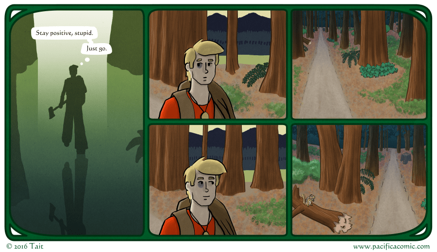 Gavin enters the forest.