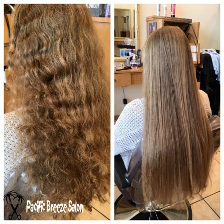 Beautiful Brazilian Blowout! Manage frizz and curls with a Brazilian Blowout treatment. You'll have the option to wear your hair curly or straighten it with ease!