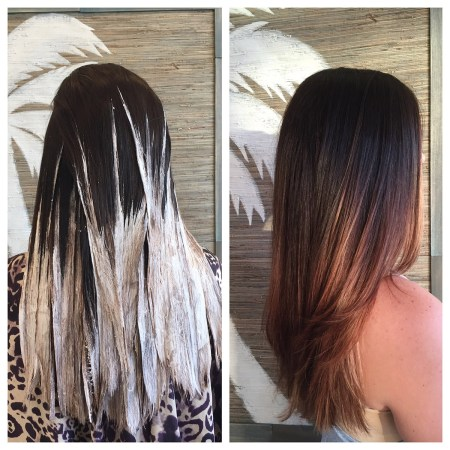 Lightening dark hair takes a practiced colorist to get right! Talk to one of our stylists to get your own beautiful balayage or ombre color.