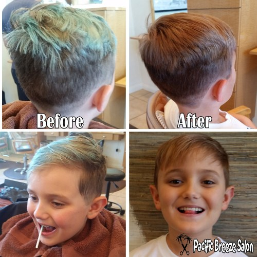 Stylist Kaity Kennaley takes chlorine green and bleach blonde back to sandry brown in time for picture day!