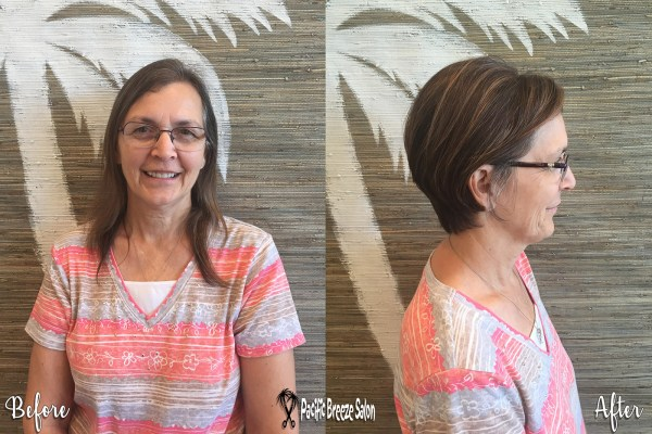 This client moved out of state but came back to Pacific Breeze Salon for a makeover! We love her new short 'do 😍 Great work, Mary Dennis!