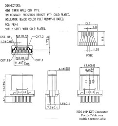hdi 19p kit drawing 2 hdmi male solder connector hood kit [ 947 x 973 Pixel ]
