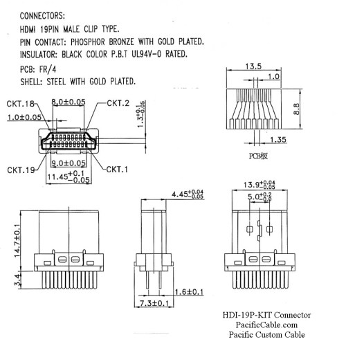small resolution of hdi 19p kit drawing 2 hdmi male solder connector hood kit