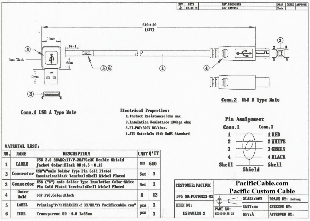 micro usb type b wiring diagram cat6 t568a usbamlbm-2 - left angle a male to 2 ft. (usb 2.0)