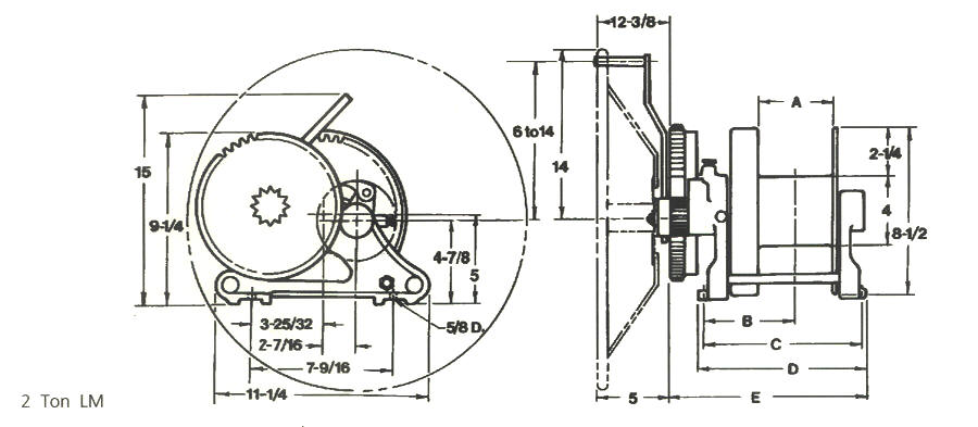 Catalog: 2 Ton Hand Winch: LM Series: Drawing: