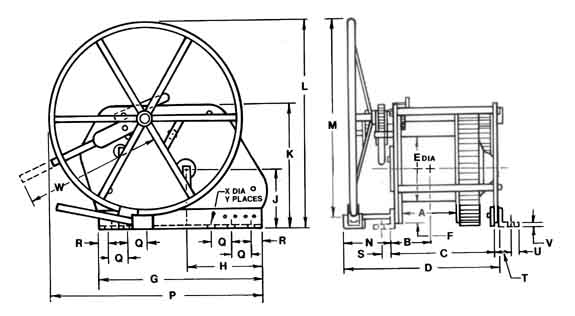 Catalog: Manual Hand Barge Winch: Low Profile: Drawing: