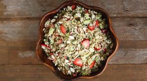 strawberry salad in pacific merchants acaciaware bowl.