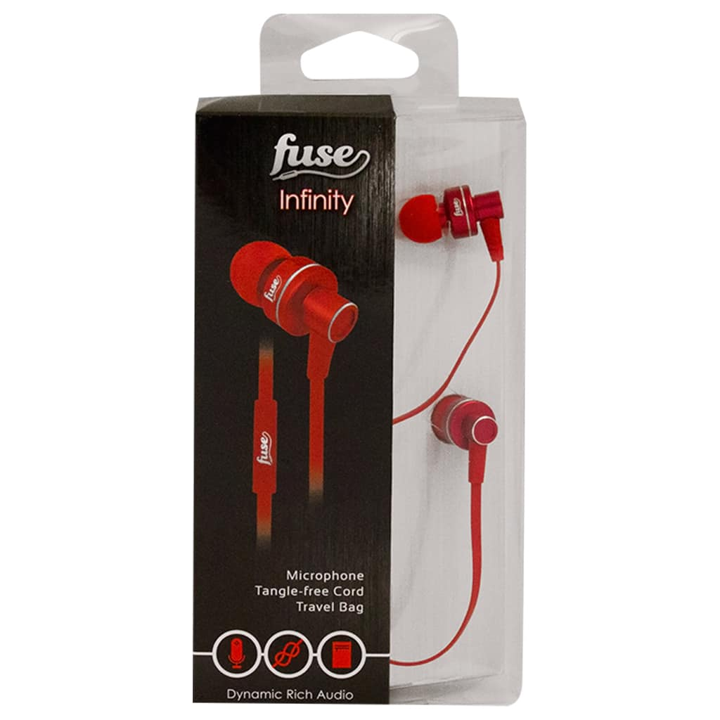 hight resolution of fuse infinity earphones with microphone and tangle free cord in red
