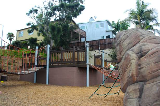 Hermosa Beach playground climbing boulder
