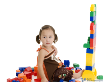 Girl Making a Fort With Blocks