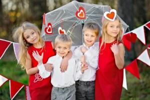 kids celebrating valentine's day