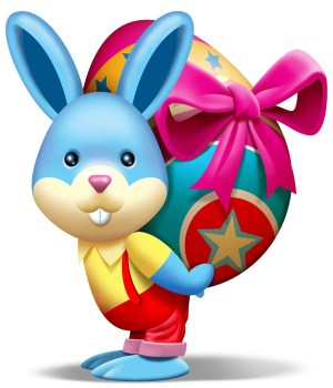 Cute Bunny holding an Easter egg