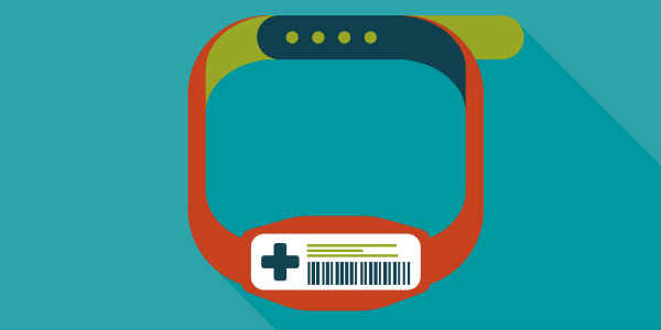 Bracelet from doctor's office indicating health checkup